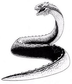 """Basilisk mythology describes this """"king of serpents"""" as a reptilian creature with sometimes rooster-like qualities who is famous for its ability to kill with a single glance.  Like its bird-lizard cousin, the Cockatrice, basilisks are said to be born from a union of serpents and roosters."""