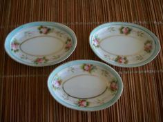 butter pat plates | Antique Nippon Butter Pats Open Salts Nut Dishes Hand Painted Pink ...