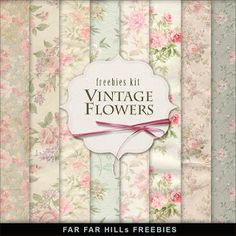 Far Hill - Free database of digital illustrations and papers: Freebies Paper Kit - Vintage Flowers Free Scrapbook Paper, Free Digital Scrapbooking, Papel Vintage, Vintage Paper, Vintage Clip, Digital Paper Freebie, Digital Papers, Far Hills, Paper Art