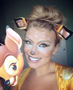 Super cute Bambi halloween costume and makeup