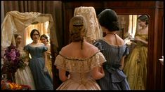 Little Women (1994) Costume Design by Coleen Atwood.  Since the main characters in the movie are poor, all their clothes are hand-me-downs. The blue dress that Meg wears here is later worn by Amy when she grows up.