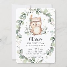 Whimsical Cute Owl Rustic Greenery Leafy Birthday Invitation: Whimsical Cute Owl Rustic Greenery Leafy Birthday Invitation $2.60 by LollipopParty Gender Neutral Baby Shower, Baby Boy Shower, Baby Showers, Baby Shower Invitations, Birthday Invitations, Boys 1st Birthday Party Ideas, Whimsical Owl, Birthday Thank You Cards, Thing 1