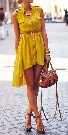 spring / summer - street chic style - beach look - sleeveless mustard shirt dress + brown belt, handbag and heeled sandals + statement necklace See more of today's top street fashion here Looks Street Style, Looks Style, Look Fashion, Street Fashion, Womens Fashion, Street Chic, Fashion 2015, Street Wear, Fashion News