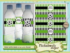 soccer water bottle labels printable digital instant download sports printables
