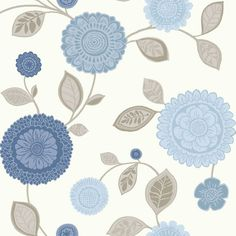 NEW ARTHOUSE TROPICANA MOTIF BLUE TAUPA & CREAM FLOWER WALLPAPER 410700