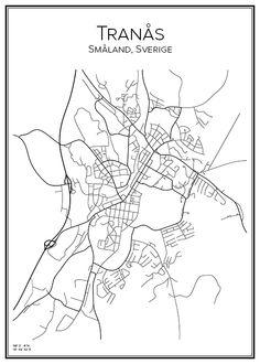 Tranås. Småland. Sverige. Karta. City print. Print. Affisch. Tavla. Tryck.