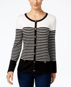 Karen Scott Petite Resort Striped Cardigan, Only at Macy's - White P/XL