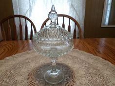 INDIANA GLASS Clear DIAMOND POINT Candy Compote Nut Pedestal Dish w/ Lid - MINT | eBay Diamond Point, Indiana Glass, Pedestal, Dish, Ceiling Lights, Candy, Crystals, Pendant, Ebay