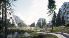 EFFEKT proposes Bratislava housing scheme modelled on a mountain range Water Architecture, Types Of Architecture, Architecture Visualization, Modern Architecture, Bratislava, Urban Design Concept, Public Space Design, Sport Park, Urban Agriculture