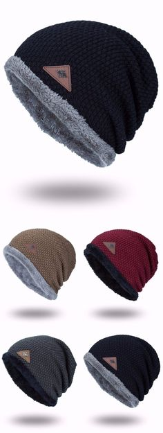 Triangle Label Embellished Fluffy Panel Thicken Knit Hat