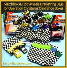 Hot Wheels car drawstring bag- love the bags made from just bias tape. So much faster to make & more colorful. shoes box Hot Wheels & Matchbox Car Totes for Operation Christmas Child Shoebox Gifts Christmas Child Shoebox Ideas, Operation Christmas Child Shoebox, Christmas Crafts For Kids, Christmas Boxes, Christmas Gifts, Craft Gifts, Gifts For Kids, Operation Shoebox, Samaritan's Purse