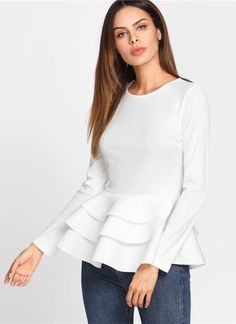 Online shopping for Tiered Ruffle Hem Peplum Top from a great selection of women's fashion clothing & more at MakeMeChic. Long Sleeve Peplum Top, Dress Outfits, Fashion Outfits, Fashion 2018, Dresses, Baby Dress Patterns, Peplum Blouse, Active Wear For Women, Blouse Designs