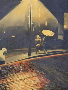 1950s Streetlight Oil Painting Dark Night   by TheGlossedAndFound