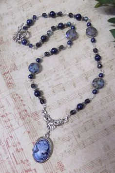Beautiful Blue Cameo & Crystals 21 Necklace  $35.00 SOLD!