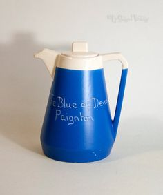 Vintage Retro 1970s Blue DEVON MOOR Pottery Jug Paignton Tourist Jug by UpStagedVintage on Etsy Blue Pottery, Red Art, Motto, Seaside, 1970s, Glass Art, Retro Vintage, Bottles, Minimal