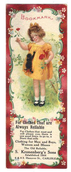 c1880 Adv Bookmark CARLISLE PA Clothier KRONENBERG'S SONS