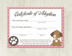 Pet Adoption Certificate Template, Fake Adoption Papers For inside Pet Adoption Certificate Template – Amazing Certificate Template Ideas Free Pet Adoption, Adoption Party, Adoption Center, Animal Adoption, Birth Certificate Template, Adoption Certificate, Certificate Format, Puppy Birthday Parties, Puppy Party