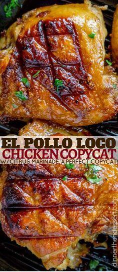 The perfect El Pollo Loco Chicken copycat recipe, marinaded in citrus and spices overnight. The perfect El Pollo Loco Chicken copycat recipe, marinaded in citrus and spices overnight. Turkey Recipes, Mexican Food Recipes, New Recipes, Chicken Recipes, Cooking Recipes, Favorite Recipes, Fondue Recipes, Dessert Recipes, Frango Chicken