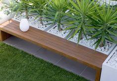 built in wood bench