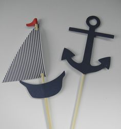 Sailboat and Anchor Nautical Cupcake Toppers. $6.00, via Etsy.