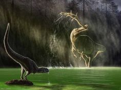 A Cretaceous Nigerian scene depicting a young (and speculatively feathered) abelisaurid called Kryptops disturbed from its drinking by the commotion caused by a Suchomimus plucking a young Sarcosuchus from its river habitat. - One of the ten scenes on Wired.com from an award-winning illustrator's new book, 'The Paleoart of Julius Csotonyi.'