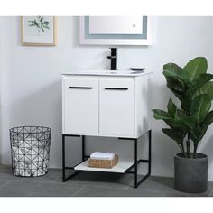 "Wade Logan® Launcest 24"" Single Bathroom Vanity Set & Reviews   Wayfair"