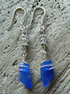 Genuine Cobalt Blue Sea Glass Earrings by MadeByTheBaySeaGlass, $45.00