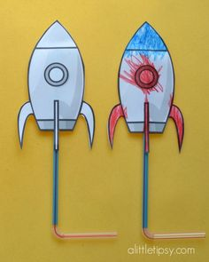 """Kids craft: rockets that actually """"launch"""" when you blow through the straw!"""