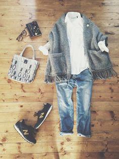 tops/nano・universe pants/URBAN RESEARCH bag/mina perhonen shoes/new barance… Japan Fashion, Daily Fashion, Love Fashion, Womens Fashion, Mode Outfits, Chic Outfits, Fashion Outfits, Mode Ab 50, Weekend Wear