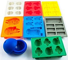 Set of 5 Star Wars Silicone Ice Trays / Chocolate Molds: Boba Fett, Han Solo, Millennium Falcon, Darth Vader Star Wars Birthday, Star Wars Party, Grand Moff Tarkin, Ice Cube Candy, Decoracion Star Wars, Aniversario Star Wars, X Wing Fighter, Ice Molds, Soap Molds