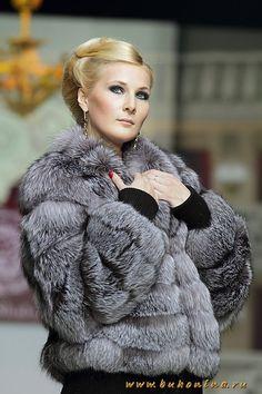 Silver fox fur jacket
