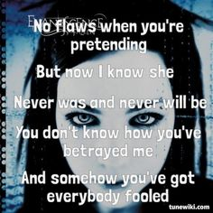 """Everybody's Fool"" by Evanescence For a minute this reflected Persephone's feelings toward Aphrodite. I can't go into why without spoilers. Best Song Lyrics, Music Lyrics, Music Is Life, My Music, Bring Me To Life, Darkness Falls, Black Parade, Amy Lee, Evanescence"