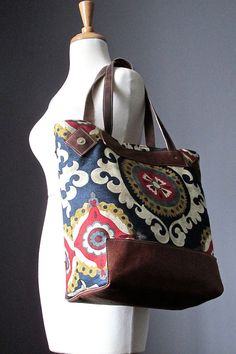 ON HOLD Cotton Leather tote bag  leather bag  by VitalTemptation