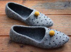 Felted Stylish Slippers Flat Ballerinas Eco-friendly Grey
