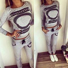 Koly_Moda con scollo a V 1 donne stabilite Activewear Palestra Sport Tops + Pants Outfits: Amazon.it: Abbigliamento
