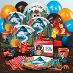camping themed party plates - Google Search