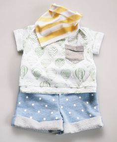 Handmade Unisex Baby Shorts with Cuff & Back Pocket  by fablebaby