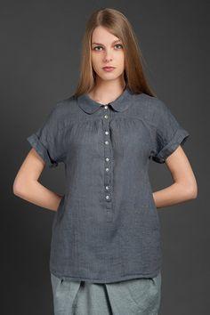 Une blouse lin gris foncée avec boutons devant par LinenSupplies