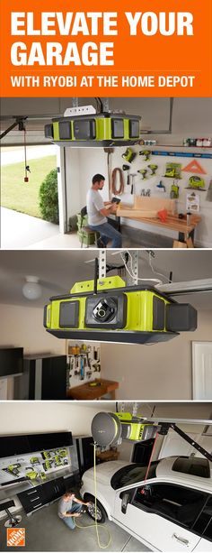 Control your home from your smartphone with garage door accessories from RYOBI. The motion-sensing s Garage House, Garage Shop, Diy Garage, Garage Organization, Garage Storage, Garage Door Accessories, Residential Garage Doors, Cool Garages, Home Depot