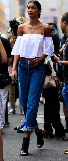 Model street style | Off the shoulder loose boho top with straight jeans