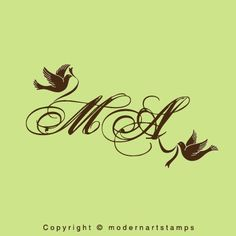 Custom Wedding Birds Monogram Rubber Stamp  by modernartstamps, $10.00