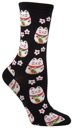 """These maneki-neko (Japanese for """"beckoning cat"""") socks are a symbol of luck in Japanese culture, and are guaranteed to bring equal parts cuteness and luckiness. In either black or blue variations, the Silly Socks, Funky Socks, Crazy Socks, Cute Socks, My Socks, Sock Leggings, Sock Animals, Maneki Neko, Sock Shoes"""