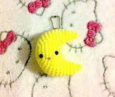 Crochet Amigurumi Kawaii Three Inch Crescent Moon Ball Chain Bag Charm
