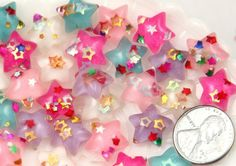 14mm Little Sparkle Party Confetti Pastel Star Acrylic or Resin Flatback Cabochons - 12 pc set