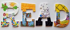 Items similar to Little Mister READ Letters -- Set of 4 on Etsy Hand Painted Walls, Hand Painted Canvas, Letter Set, Letter Wall, Read Letters, Painting Wooden Letters, Storybook Characters, Quirky Gifts, Hand Painted Ornaments