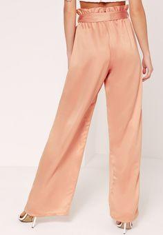Paper Bag Waist Wide Leg Trousers Orange - Missguided
