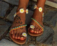 "Hippie Chic sandalias, sandalias de cuero griego, ""Daisy"""