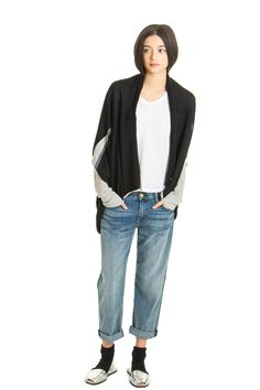 Cocoon Cardigan, Black Multi, 100% Fine Worsted Cashmere | Paychi Guh