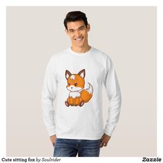 Cute sitting fox T-Shirt - Heavyweight Pre-Shrunk Shirts By Talented Fashion & Graphic Designers - Fashion Graphic, Fashion Design, Cartoon T Shirts, Diy Stuffed Animals, Chihuahua, Shirt Style, Your Style, Fitness Models, Shirt Designs
