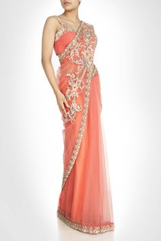 Peach color net saree